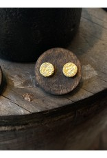 Small Topography Post Earrings with (3) White Diamonds in 18k Yellow Gold
