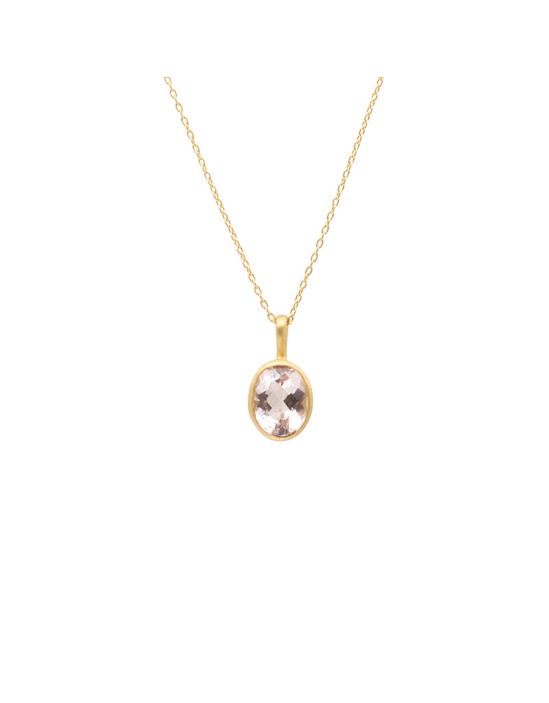 Marian Maurer City Pendant with Oval Morganite in 18k Yellow Gold