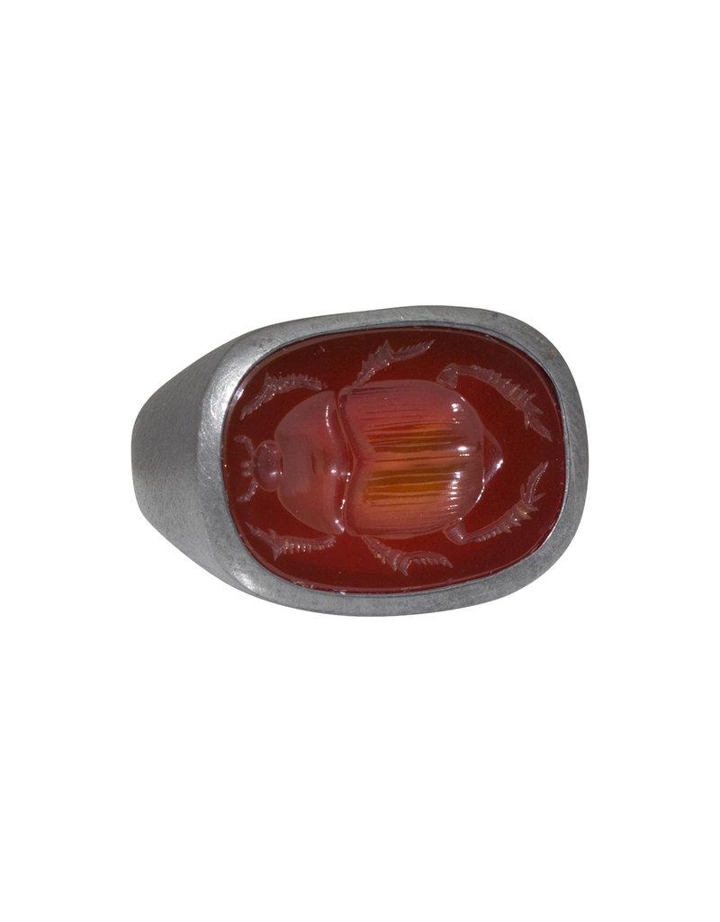 Intaglio Scarab Carnelian ring in Oxidized Silver