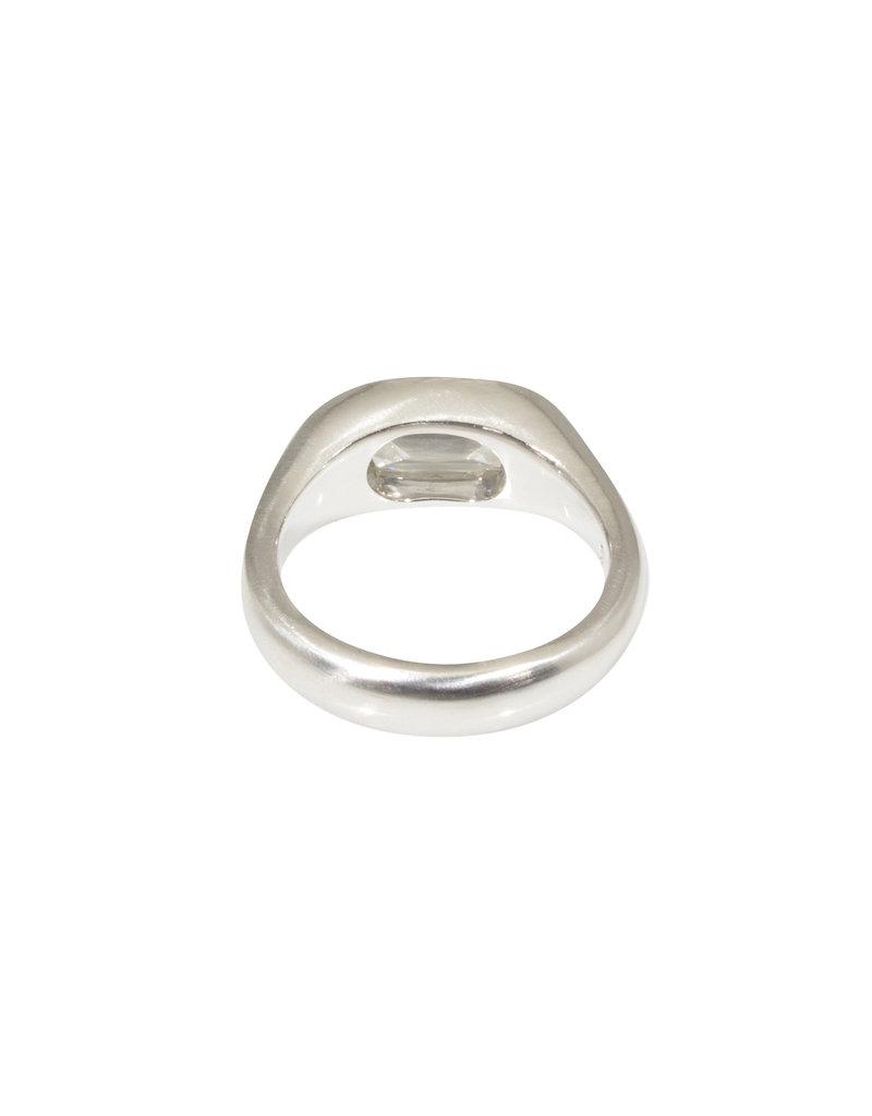 Antique Cushion Cut Oval Diamond Ring in Platinum