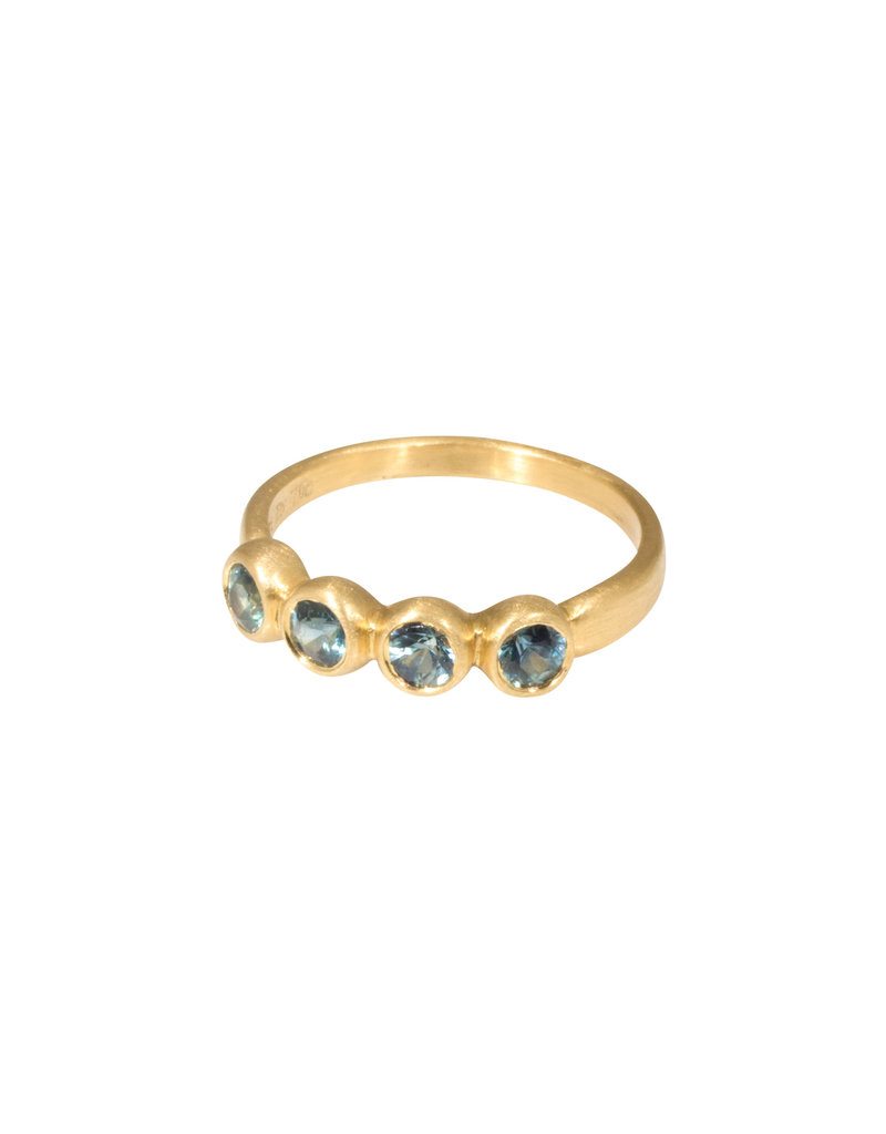 Marian Maurer Porch Skimmer Band with 3.5mm Blue Sapphires in 18k Yellow Gold