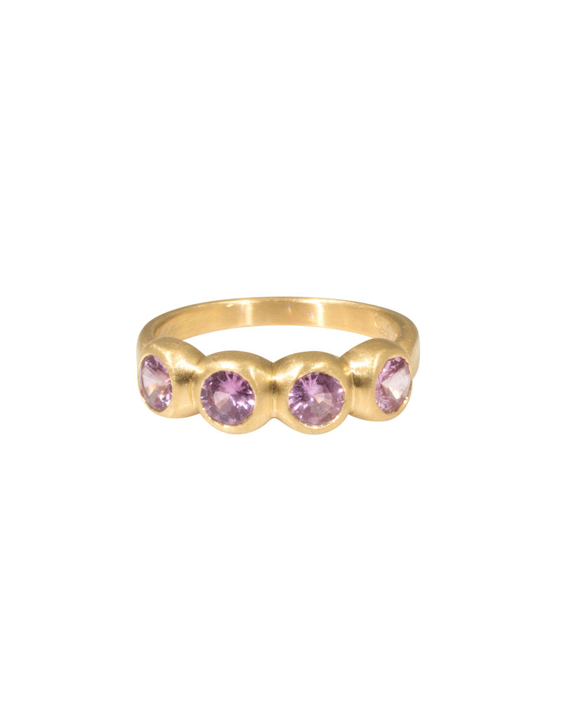 Marian Maurer Porch Skimmer Band with 4mm Pink Sapphires in 18k Yellow Gold