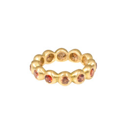 Marian Maurer Porch Band with 3mm Orange Sapphires in 18k Yellow Gold