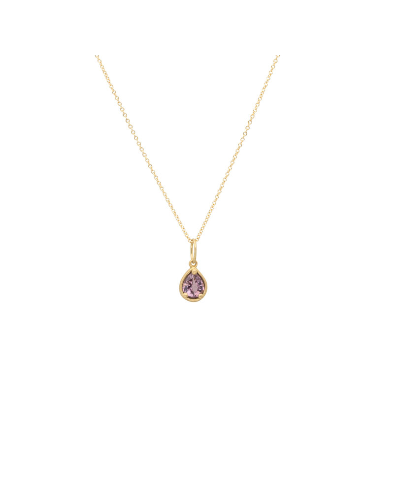 Marian Maurer City Pendant with Teardrop Pink Spinel in 18k Yellow Gold