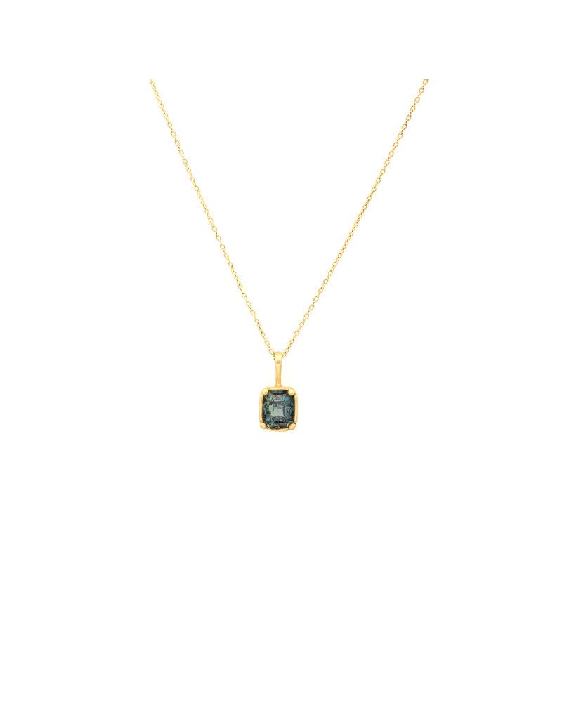 Marian Maurer City Pendant with Rectangular Blue Green Sapphire in 18k Yellow Gold