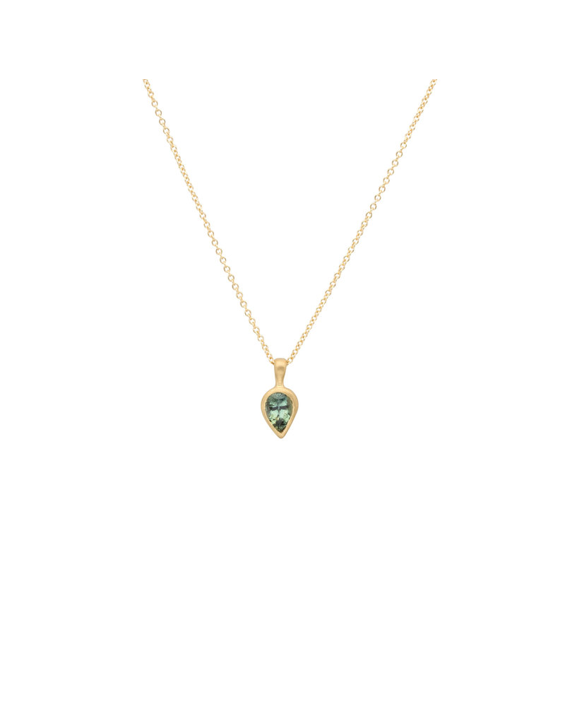 Marian Maurer City Pendant with Small Green Teardrop Sapphire in 18k Yellow Gold