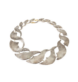 Judy Geib Flat Twisted Necklace in Silver with 18k Yellow Gold