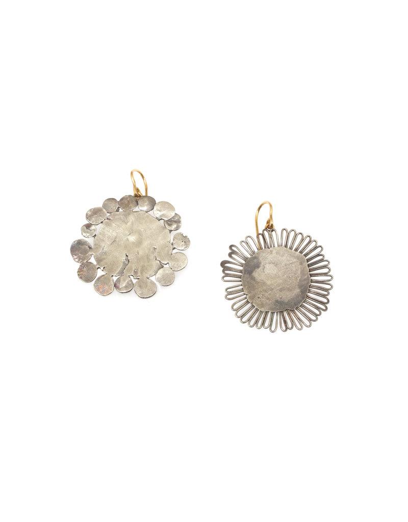 Judy Geib Large Flat Flowery Earrings in Silver
