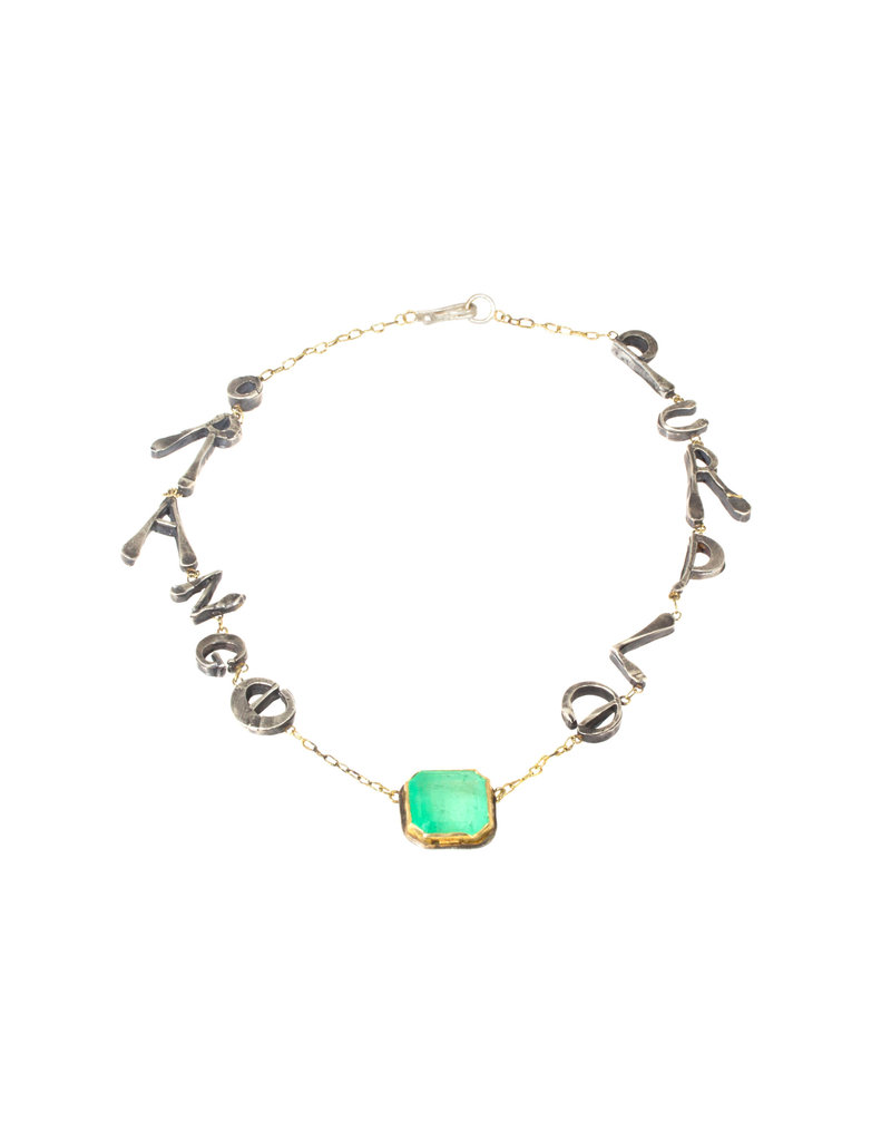 """Judy Geib """"Purple Orange"""" Necklace with Emerald in Silver"""
