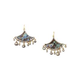 Judy Geib Abalone Fan-Shaped Earrings in Silver