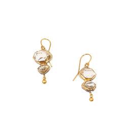 Judy Geib Double Herkimer Diamond Drop Earrings in Silver & 18k Yellow Gold