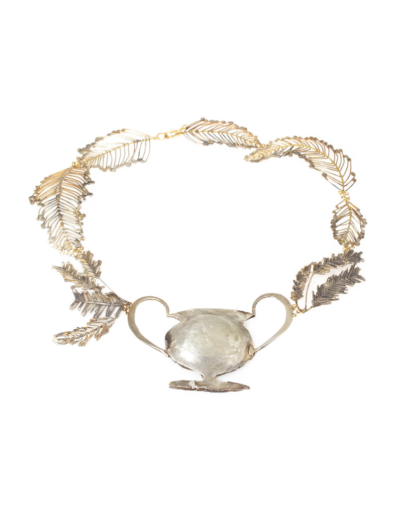 Judy Geib Trophy Necklace with Ferns in Silver with 18k Yellow Gold