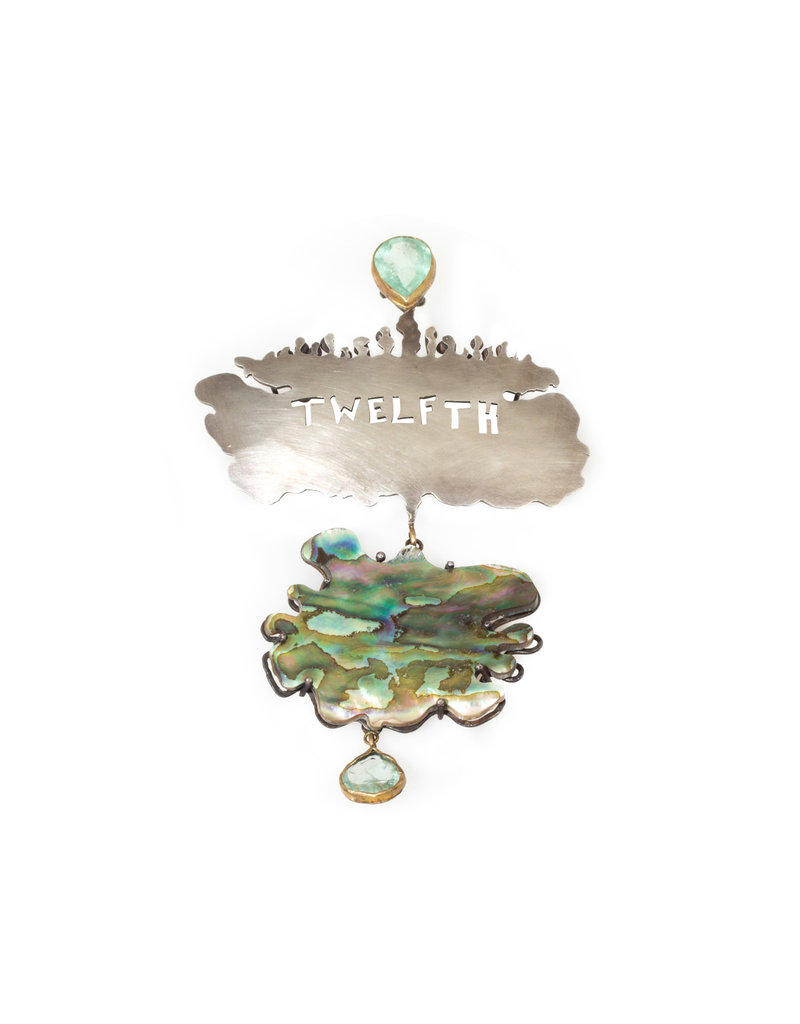 Judy Geib Commemorative Twelfth Pendant in Silver with Abalone & Emerald