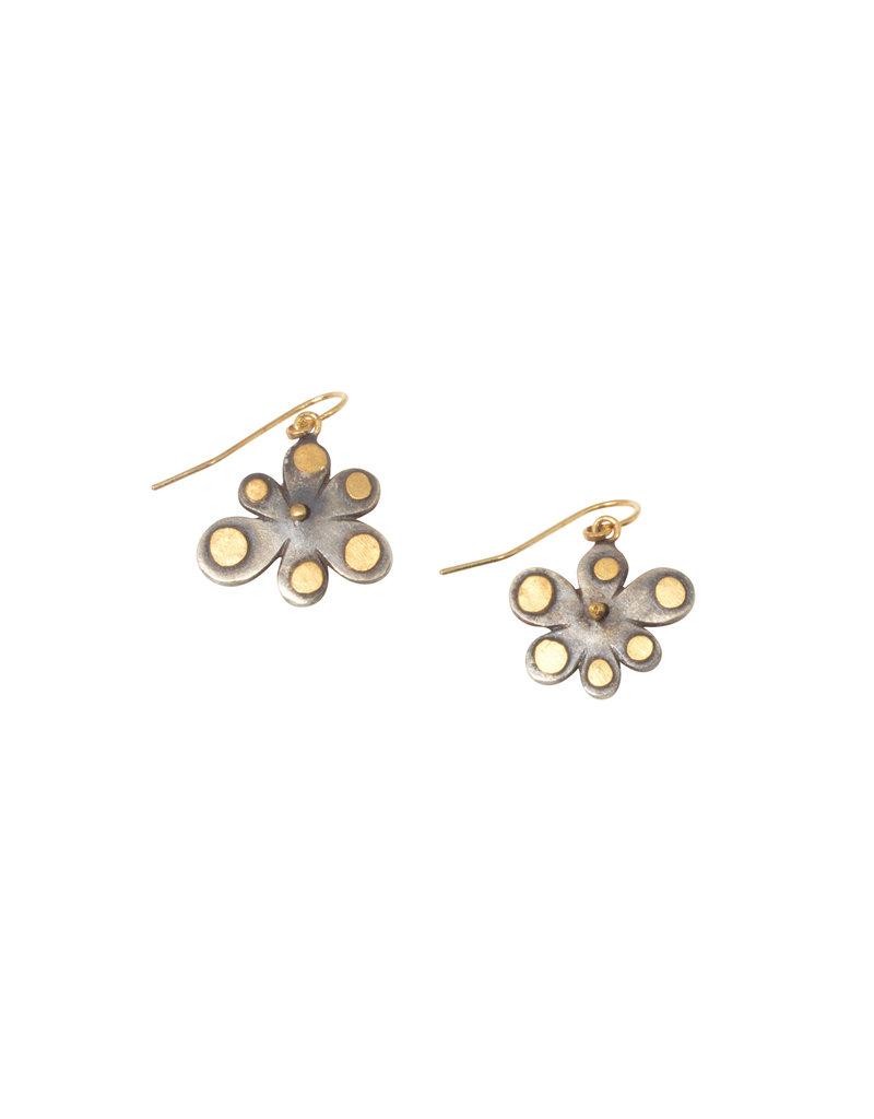 Judy Geib Small Opal Wildflower Earrings in Oxidized Silver & 18k Yellow Gold