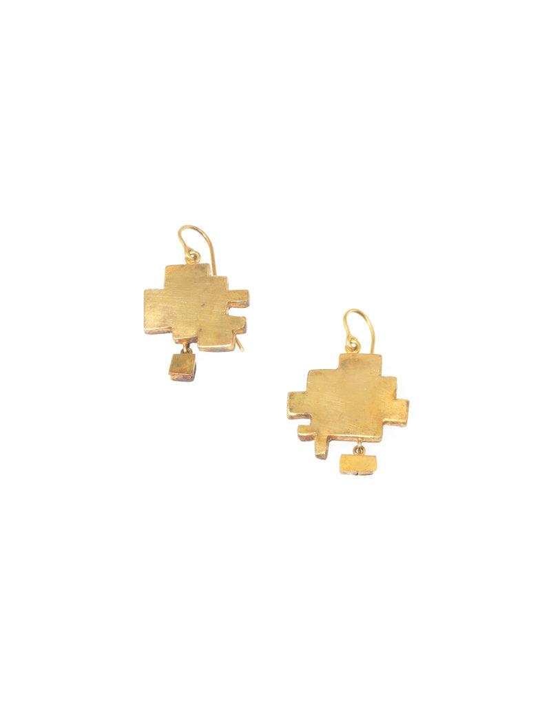 Judy Geib Mid-Century Modern Earrings in 22k Gold & Silver
