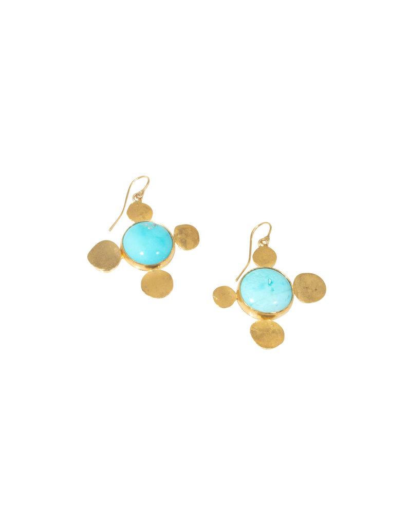 Judy Geib Persian Turquoise Earrings in 18k & 22k Gold
