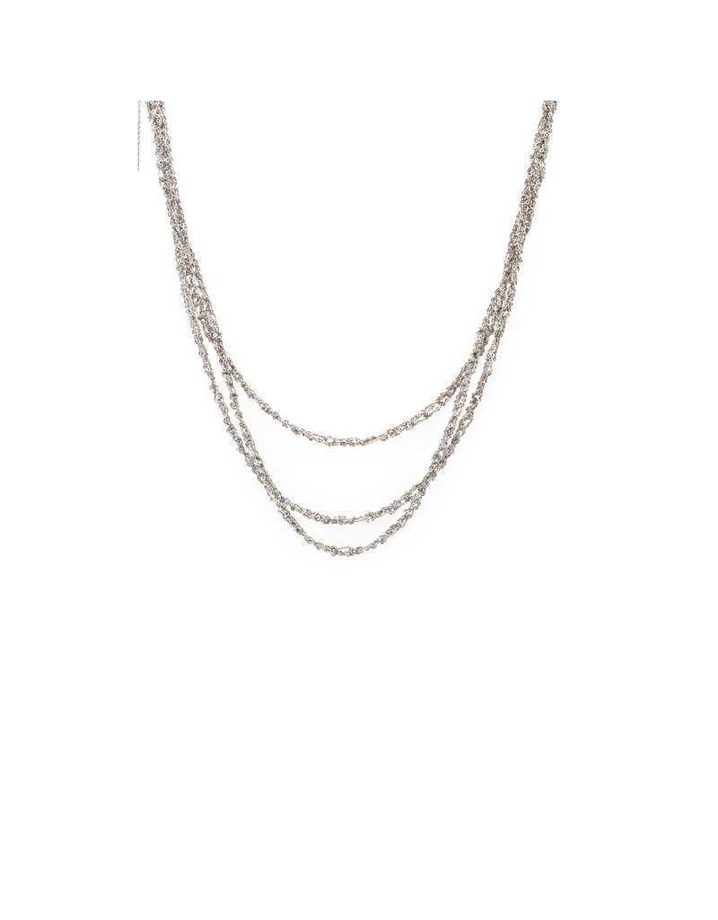 Three-Tiered Simple Necklace in Silver and Stainless Steel