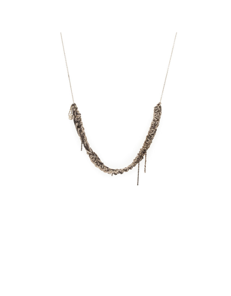 Thick Skinny Necklace in Oxidized Silver