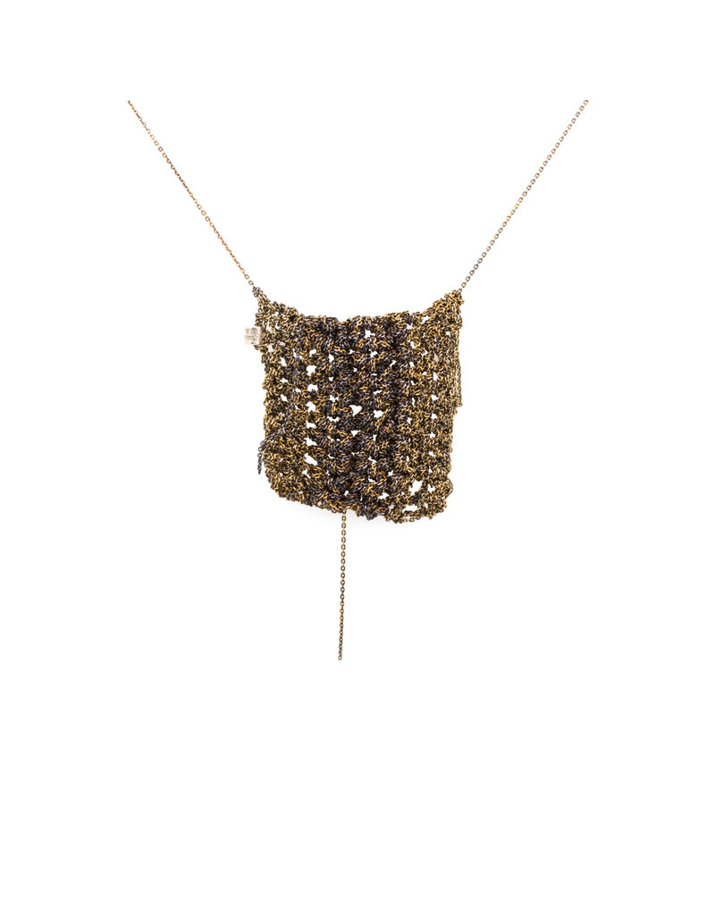 Striped Square Drop Necklace in Silver and 18k Gold Vermeil