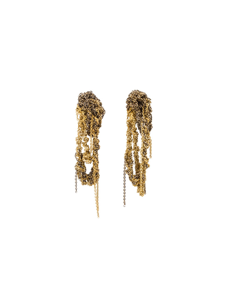 Two-Tone Drip Earrings in Gold and Burnt Gold
