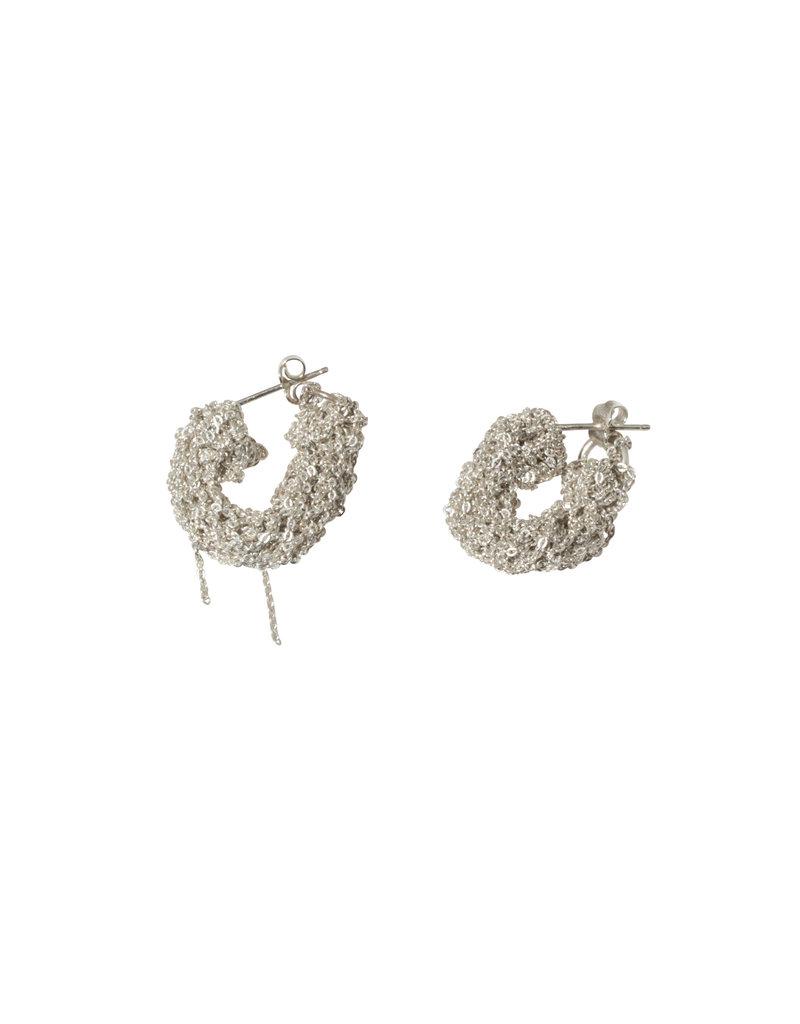 Pipette Cuff Earrings in Silver