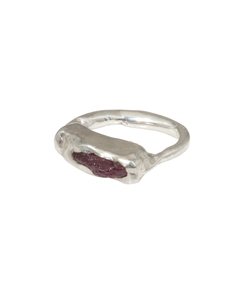 Raw Ruby Ring in Sterling Silver