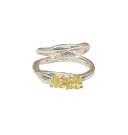 Double Ring Band with Yellow Sapphires in Sterling Silver