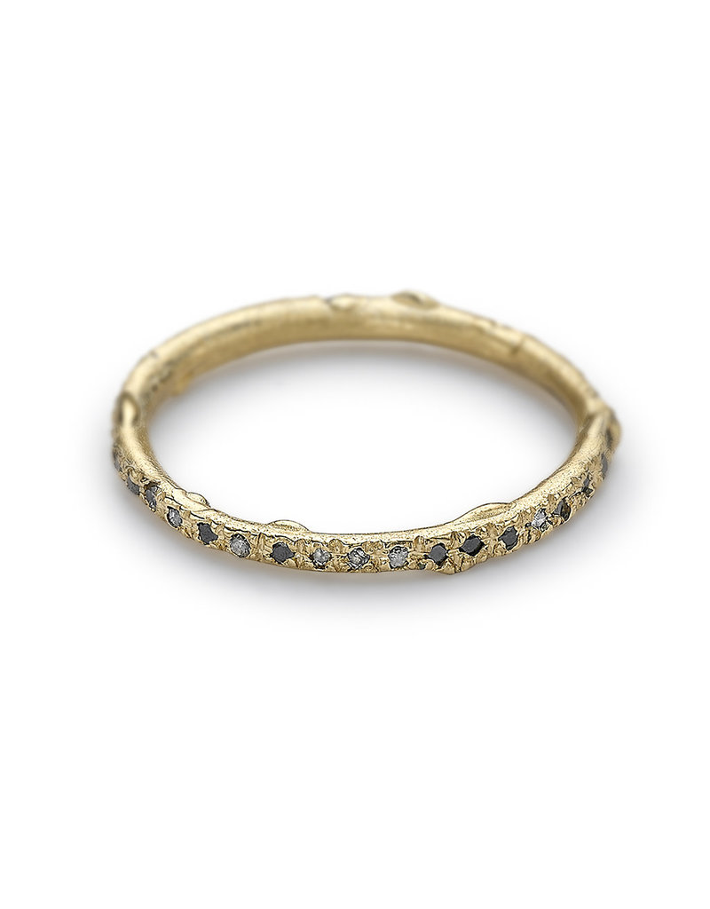 Grey and Black Diamond Eternity Band in 14k Yellow Gold