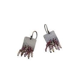 Tourmaline Bead Earrings on Square Oxidized Silver