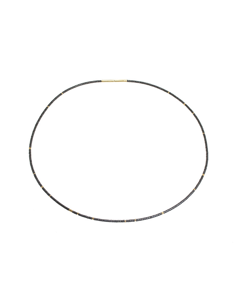 Kate Necklace with 18k Yellow Gold and Grey Glass Beads