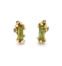 Tourmaline and Grey Diamond Encrusted Post Earrings in 14k Yellow Gold