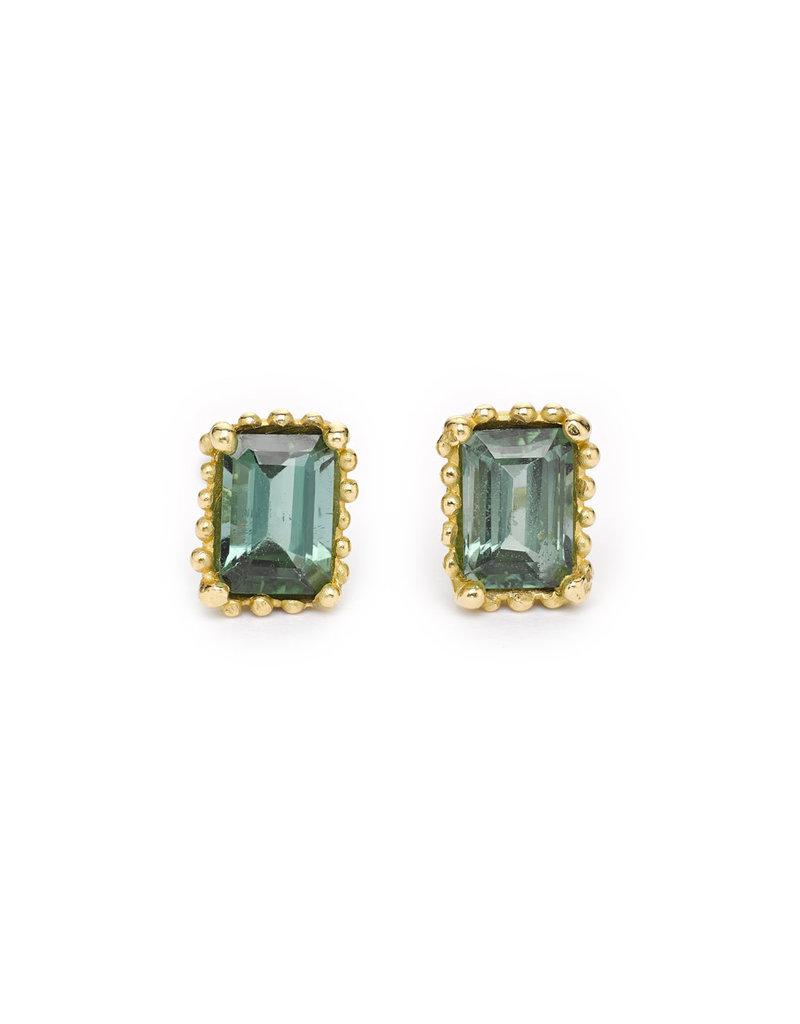 Emerald Cut Tourmaline Post Earrings in 18k Yellow Gold