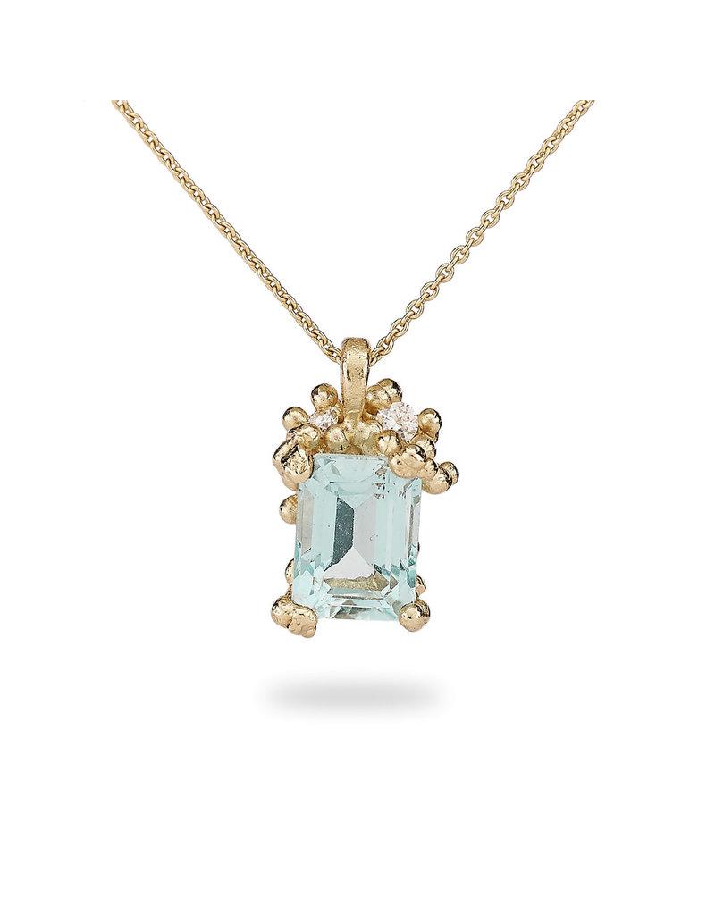 Emerald Cut Aquamarine and Diamond Pendant in 14k Yellow Gold