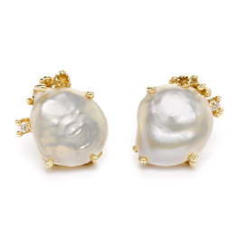 Pearl Post Earrings with Diamonds and Barnacles in 14k Yellow Gold