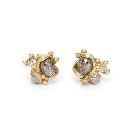 Rose Cut Diamond Cluster Post Earrings in 14k Yellow Gold
