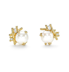 Pearl and Baguette Diamond Encrusted Post Earrings in 18k Yellow Gold