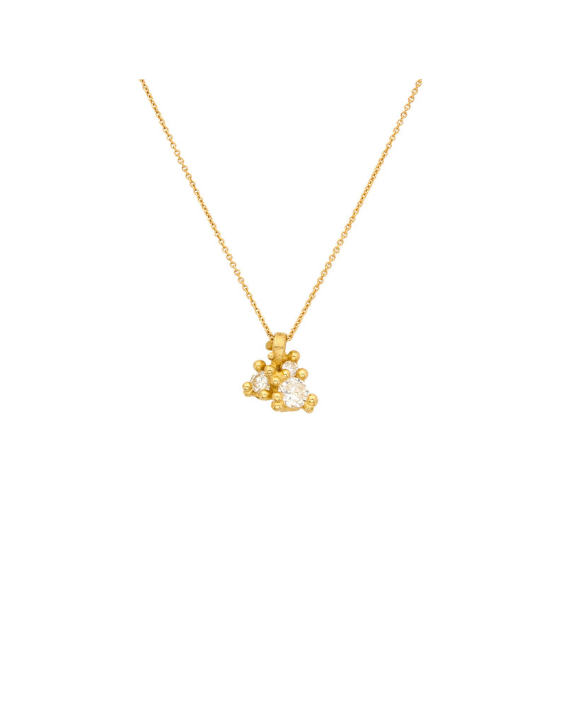 Diamond and Granule Cluster Pendant in 18k Yellow Gold