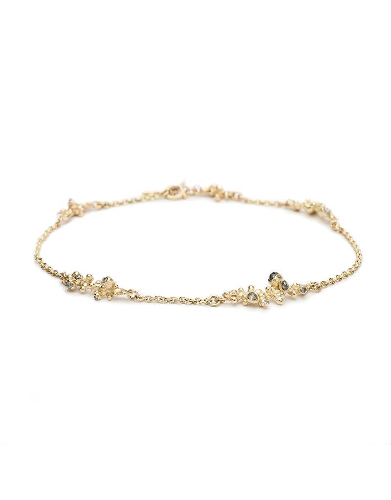 Grey Diamond Encrusted Bracelet in 14k Yellow Gold