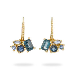 Sapphire and Topaz Cluster Drop Earrings in 14k Yellow Gold