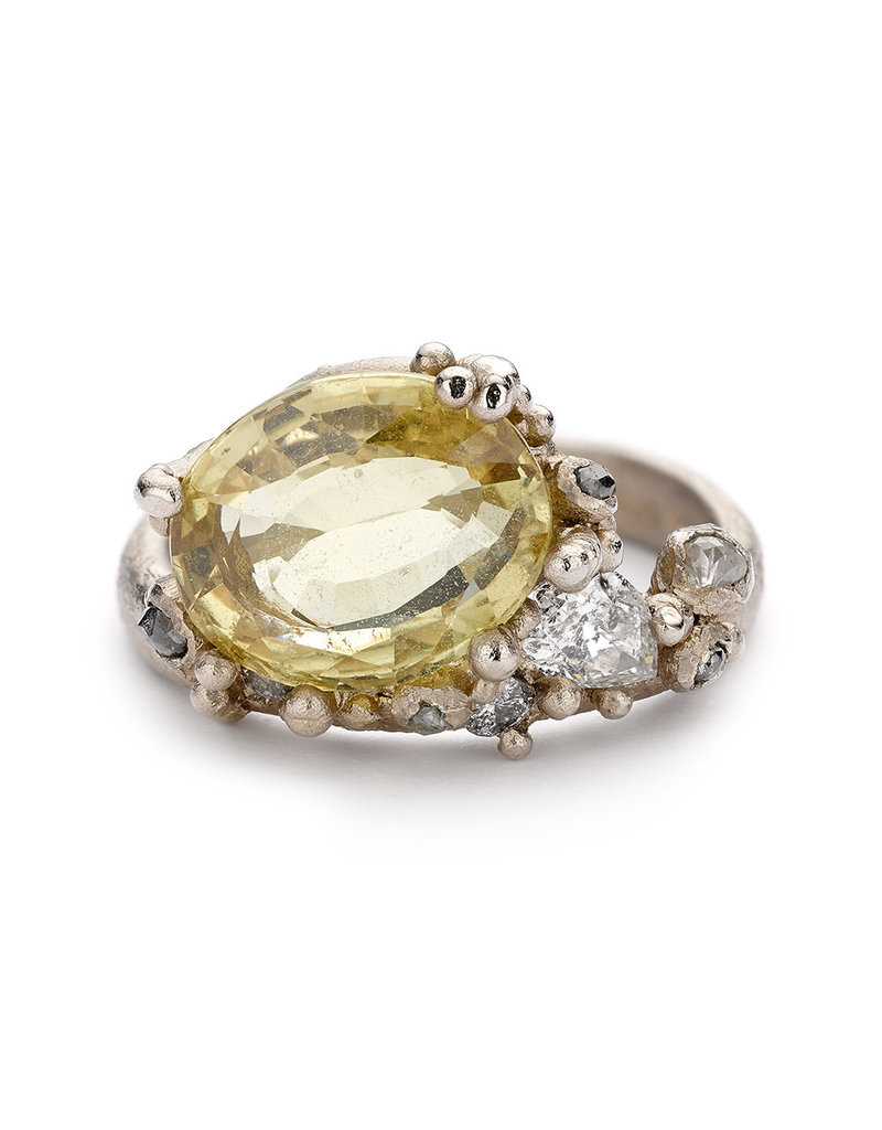 Yellow Sapphire and Grey Diamond Encrusted Ring in 18k White Gold