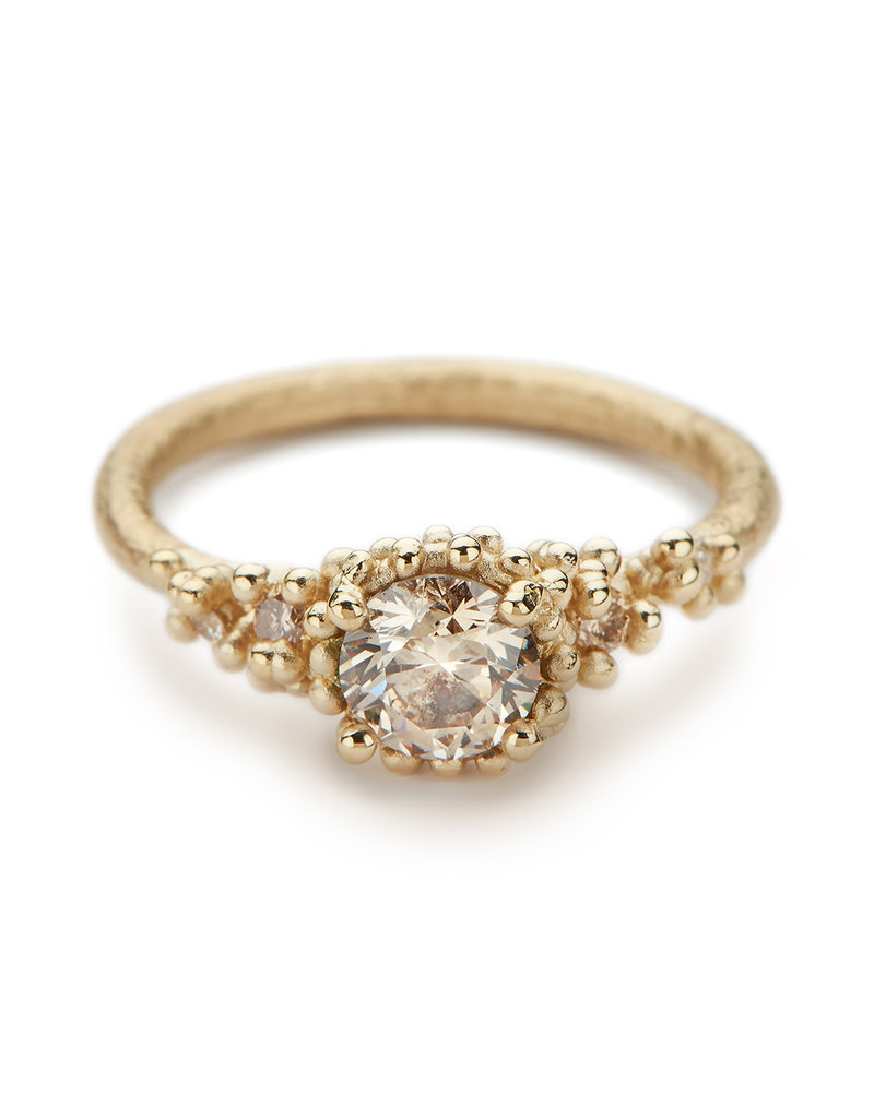 Encrusted Champagne Diamond Ring in 14k Yellow Gold
