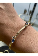 Sapphire and Diamond Encrusted Cuff in 14k Gold