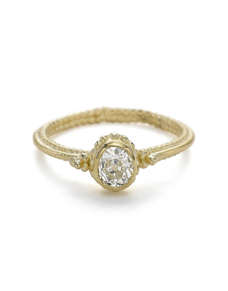 Solitaire Diamond Ring with Double Beaded Band in 14k Yellow Gold