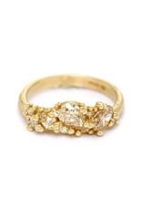 Champagne Diamond Asymmetric Ring in 14k Yellow Gold