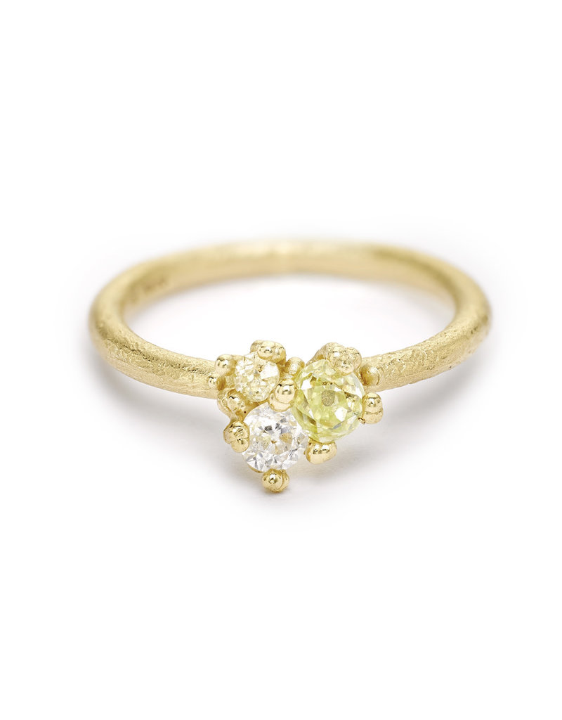 Antique Diamond Cluster Ring in 14k Yellow Gold
