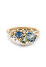 Mixed Sapphire and Diamond Tumbling Cluster Ring in 14k Yellow Gold
