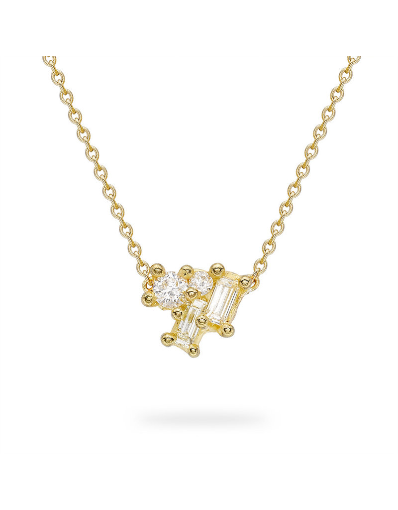 Mixed Diamond Luminous Cluster Bar Necklace in 18k Yellow Gold