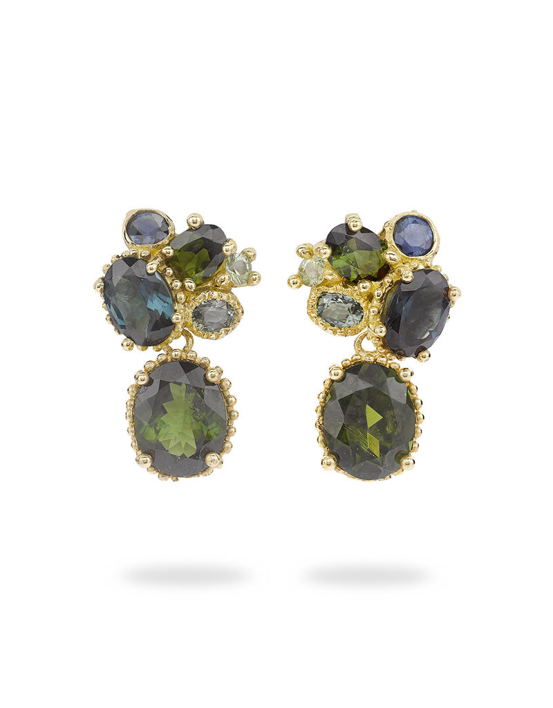 Tourmaline and Sapphire Cluster Drop Earrings with Beaded Setting in 18k Yellow Gold