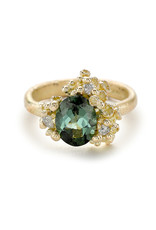 Green Tourmaline Ring with Diamonds and Barnacles in 18k Yellow Gold
