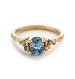 Sapphire and Diamond Encrusted Solitaire Ring in 14k Yellow Gold